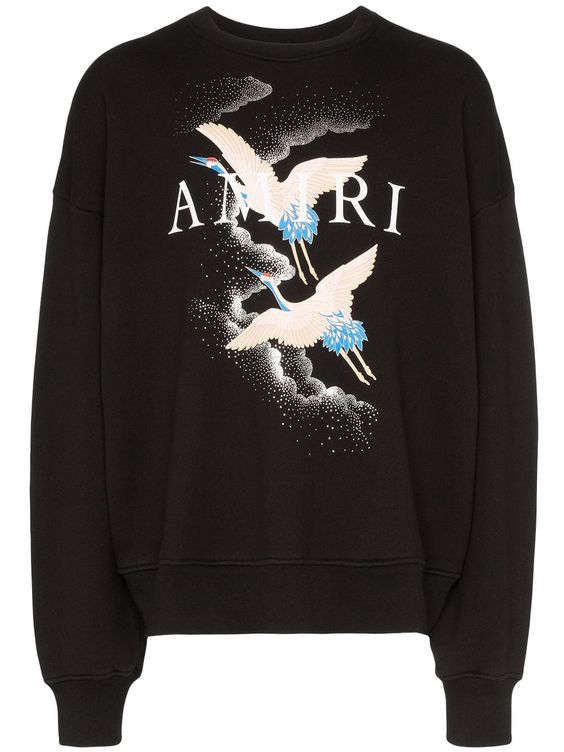 Amiri crane print Black Sweatshirt DV01