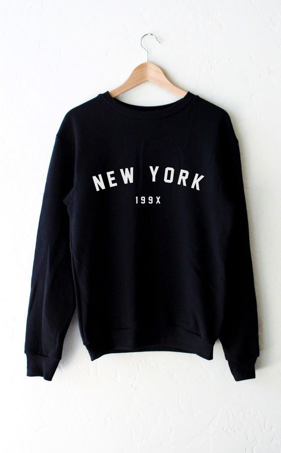 New York oversized crew Black Sweatshirt DV01
