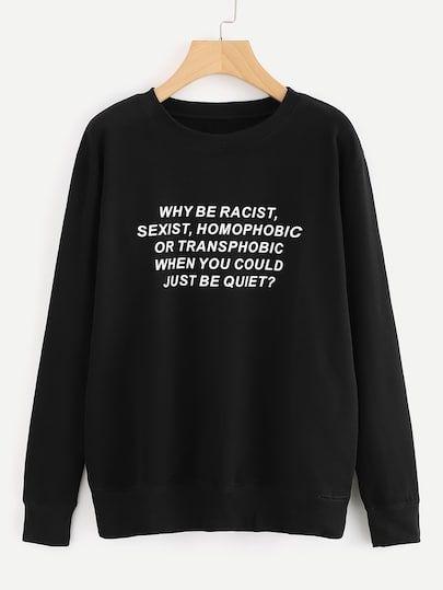 Slogan Print Sweatshirt DV01