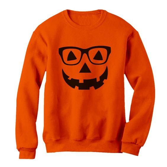 Geeky Pumpkin Face Halloween Sweatshirt EL01