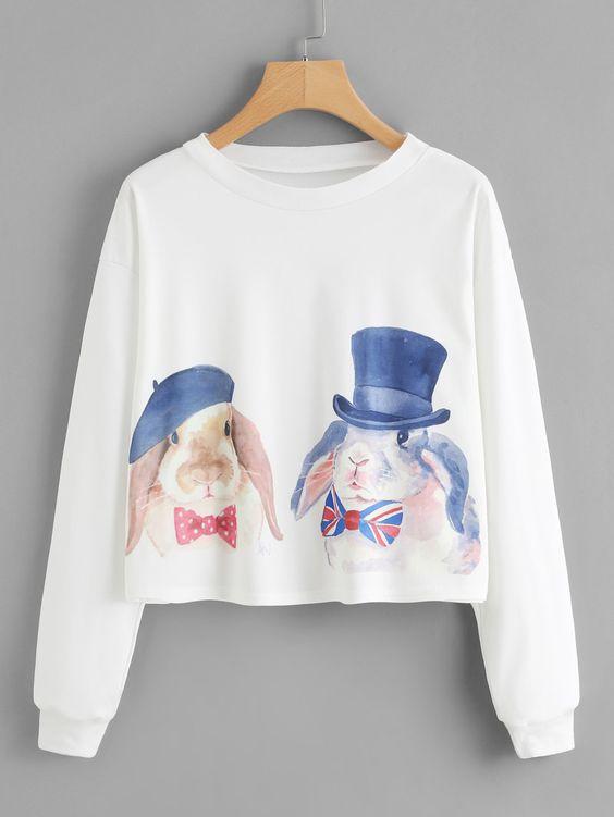 Watercolor Rabbit Sweatshirt FD01
