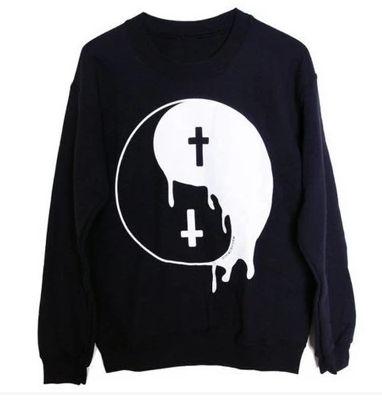 Ying yang black print sweatshirt ER30