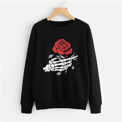 Black Floral Sweatshirt D4EM