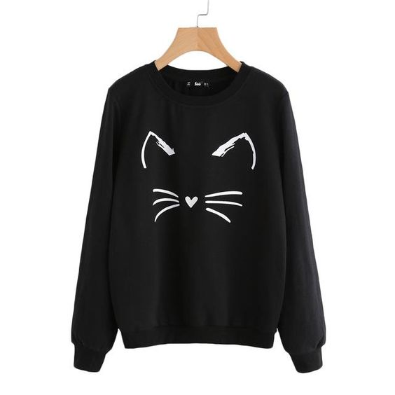 Cat Mustache Black Sweatshirt AZ3D