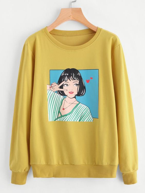 Girl Yellow Sweatshirt AZ9D