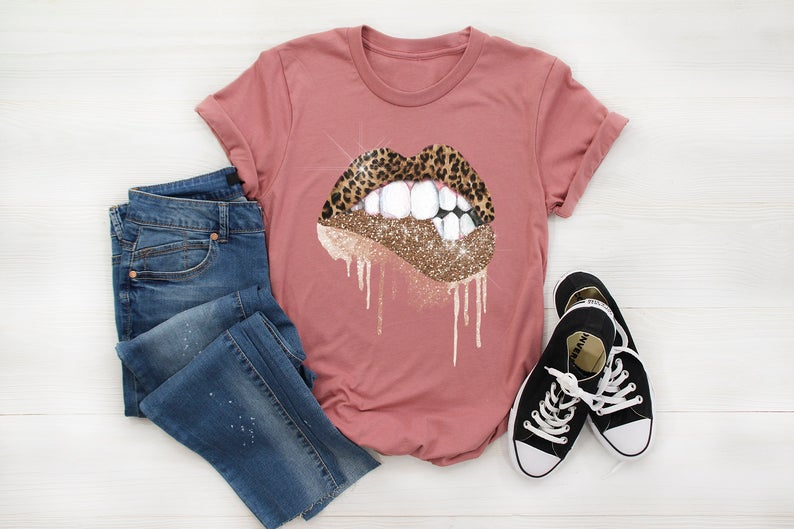 Glitter Dripping Lips Shirt FD7AG0